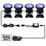 DOCEAN Pond Light 36 LED IP68 Waterproof Underwater Submersible Spotlight with Remote, 4Pack Multi-Color & Adjustable & Dimmable Aquarium Light, Landscape Lamp for Fish Tank Fountain(Set of 4)