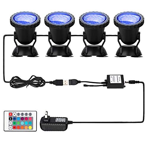 Pond Light 36 LED 100% Waterproof Underwater Submersible Lights, 4 Pack Multi-color & Adjustable & Dimmable Aquarium Light with Remote Control, Landscape Lamp for Fish Tank Swimming Pool Fountain (Best Submersible Pond Lights)