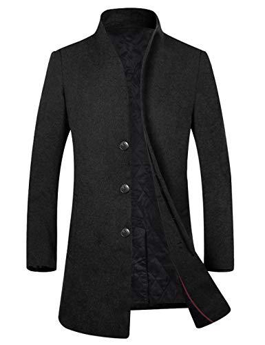 APTRO Men's Fleece Lining Slim Fit Wool Trench Coat 1681 Black L
