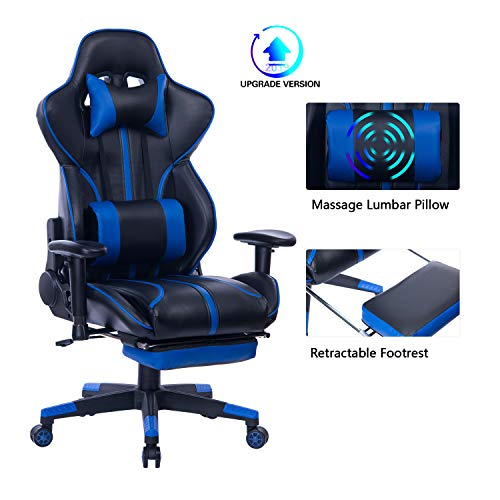 Blue Whale Gaming Chair PC Computer Gaming Chair Racing Chair Ergonomic Office Chair High-Back PU Leather Computer Desk Chair with Retractable Footrest Detachable Lumbar Cushion and Headrest Blue Anji Import & Export Trading Co., Ltd.