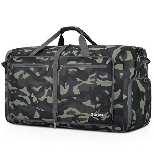 Gonex 100L Foldable Duffel, Packable Luggage Duffle Bag Lightweight Water Repellent & Wear Resistant Black and Green Camouflage