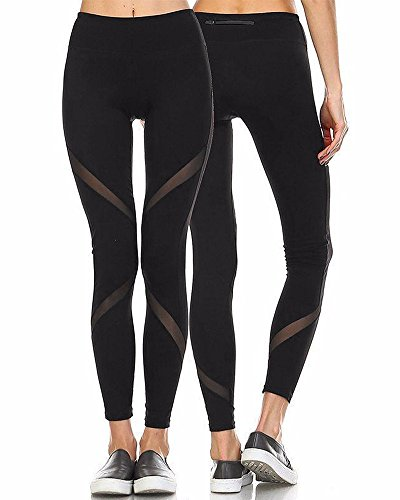 CFR Women's Yoga Pants High Waist Sport Skinny Leggings Sexy Mesh Stretch Fitness Trousers Style 1,S USPS Post