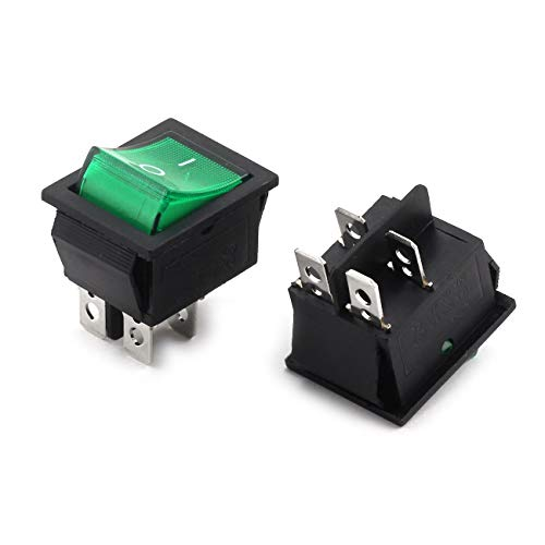 Longdex 2pcs AC 250V 16A ON/Off Boat Rocker Switch Small Appliances Power Switch 2 Position I/O 4Pin DPST Green Button Switch with Light