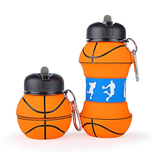 Sports Kids Water Bottle Basketball Gifts idea for Boys Collapsible BPA-Free for Sports Travel Bike School Gym, 18 oz ()