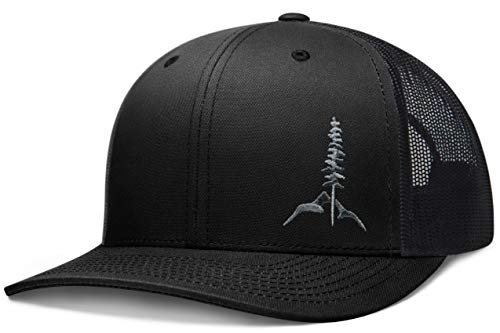 Larix Gear - The Tamarack - Black Snapback Trucker Hats for Men and Women - Gift Box - Sticker - Mesh