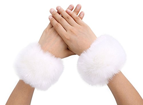 Simplicity Faux Fur Costume Wrist Band Ring Cuff Fuzzy Arm Warmers White White Faux Fur Trim