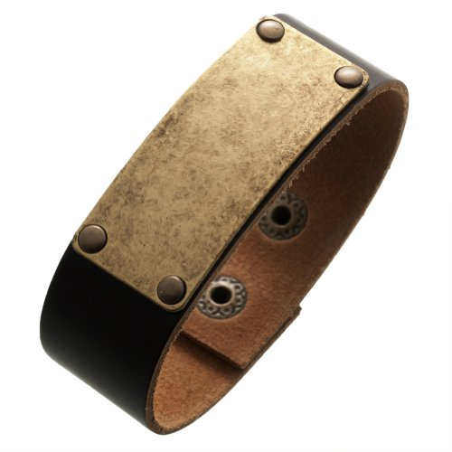 Old Glory - Brass Badge Leather Wristband