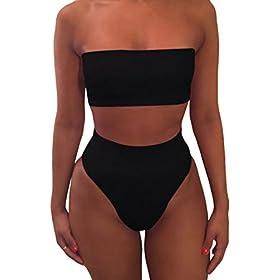 - 413d7X 2BjenL - Pink Queen Women's Removable Strap Wrap Pad Cheeky High Waist Bikini Set Swimsuit