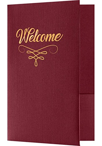 Welcome Folders - Burgundy Linen w/Gold Foil Flourish (250 Qty.) | Perfect for Hotel Welcome Baskets, Wedding Programs, Simars, Brochures and so much more! | Standard Two Pockets | WEL-DB100-FGF-250 by LUXPaper