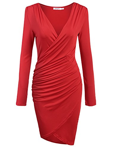 ANGVNS Women's Sexy Deep V-neck Pencil Dress Bodycon Solid Slim Party Banquet Knee Dress,Wine Red,XX-Large (Solid Slim V-neck)