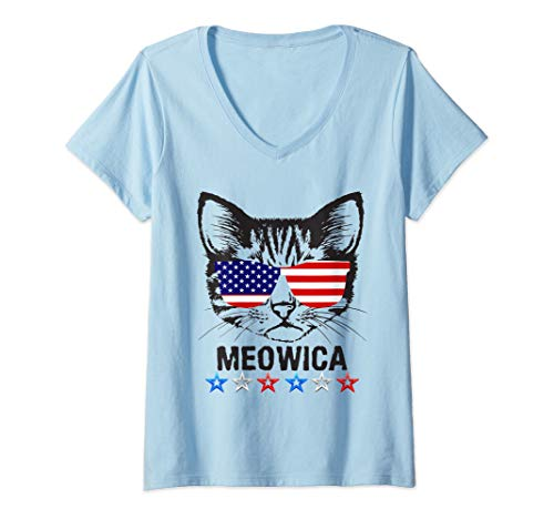 Womens 4th of July T Shirt American Flag Cat MEOWICA Shirt V-Neck T-Shirt