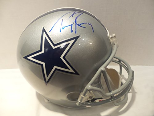 Tony Romo Silver Signed Dallas Cowboys Autographed Riddell Helmet Certified Authentic Autograph (Romo Helmet Autographed Tony)