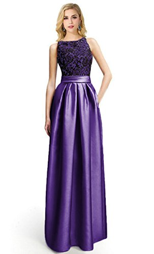 (Women's Sleeveless Lace Bodice Ruched Waist Evening Gown Prom Dress (Purple,14£)