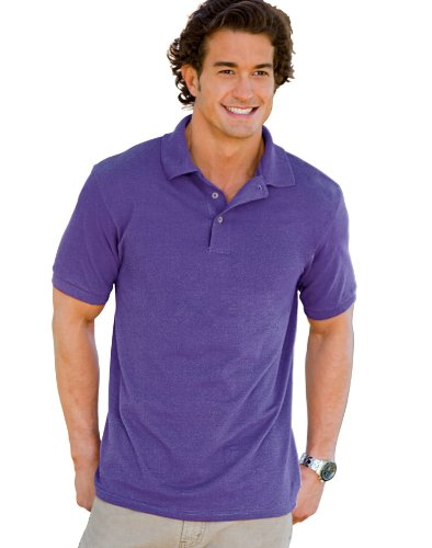 Hanes Men's 7 oz Hanes STEDMAN Cotton Pique Polo, 2XL-Purple