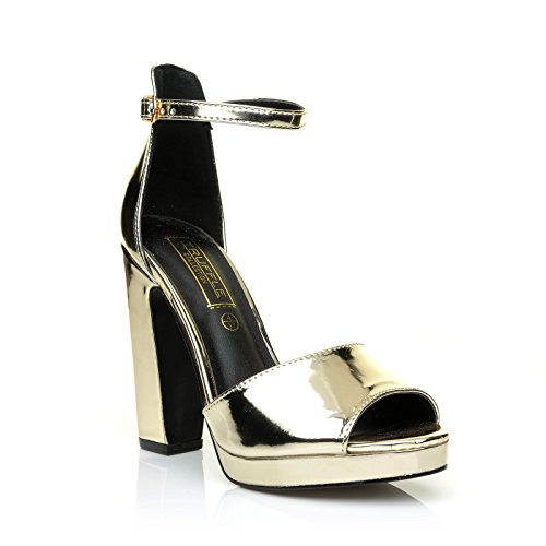 ShuWish UK Lila Gold Patent PU Leather High Block Heel Ankle Strap Platform Sandals MfkMlubm