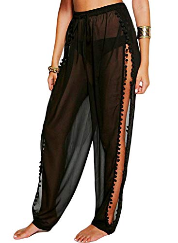 Blibea Women's Black Bikini Wrap Cover Up Mesh Cover Up Pants Tassel Sheer Beach Trouser Pants Swimsuit L