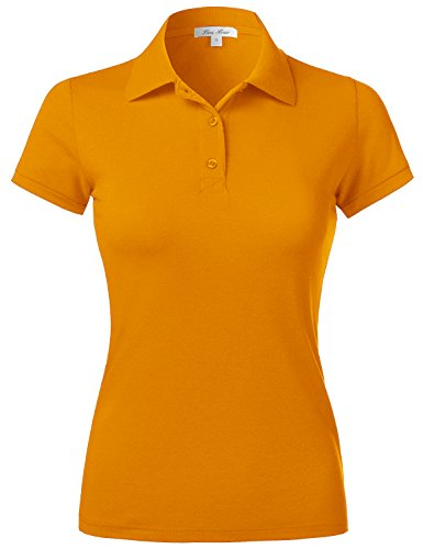 Womens Polo Shirts Uniforms Slim Fit Pique Casual Solid PK Top short Sleeve (Large, Mustard) (Shirt Mustard Girl)