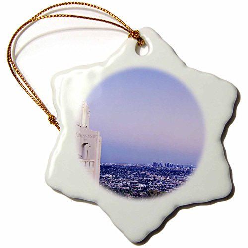3dRose Boehm Photography Travel - Los Angeles from Griffith Park Observatory - 3 inch Snowflake Porcelain Ornament ()