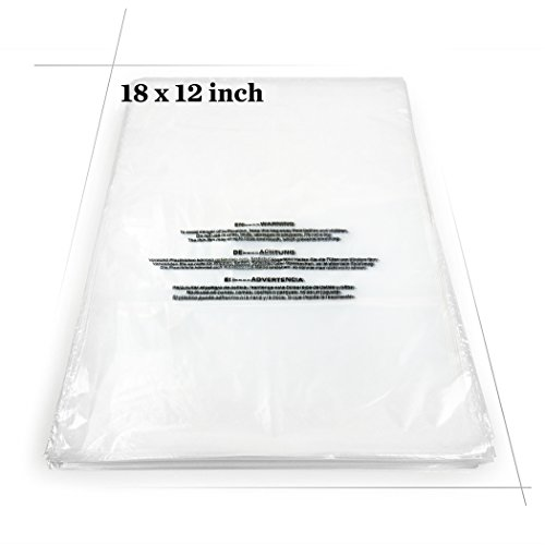 "Becko Self Seal Clear Flat Poly Bags with Suffocation Warning for Storing Clothing/Towel/Blanket/Doll (12""x18"") - 100pcs"
