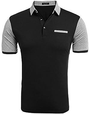 Mens Short Sleeve Polo Shirts Slim fit Casual Basic Golf T Shirt
