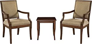 Powell Rect-Back Accent Chairs with Light Cherry End Table, 3-Piece