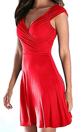 Littler Store Women's Summer Sexy V Neck Knee Length Casual Party Dress RedMedium
