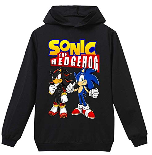 Indepence Life Boys and Girls Sonic The Hedgehog Pullover Hooded Sweatshirt(Black, 6T) -
