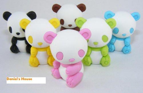 Panda Eraser - 6Pcs Japanese Iwako Erasers-Pandas
