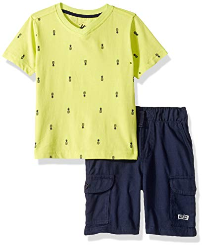 Beverly Hills Polo Club Boys' Big Sleeve top and Short Set, Lime Pineapple 8 (Club The Pineapple)
