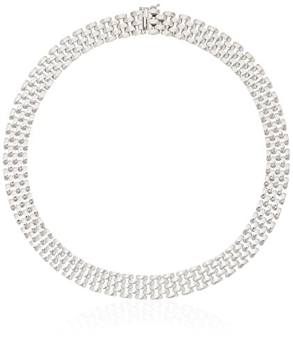 (Italian Sterling Silver Five-Row Panther-Link Necklace, 16.75