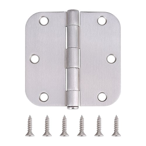 Pack of 10 Residential Door Hinges - 3.5 Inch - Satin Nickel Finish - 5/8