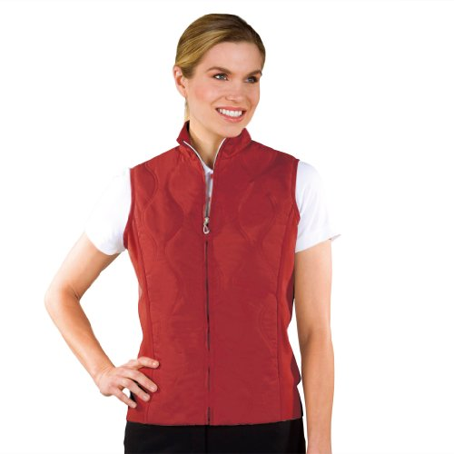 Monterey Club Ladies Quilt Vest with Rib Side Panels #2710 (Cardinal, Small)