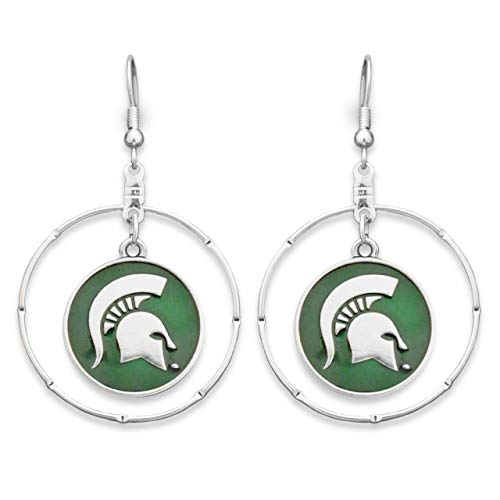 Lola Bella Gifts FTH Licensed Michigan State Spartans Society College University Dangling Earrings with Gift Box