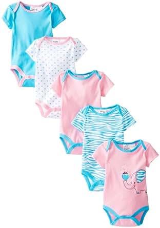 Peanut Buttons Baby-Girls Newborn Girl Elephant 5 Pack Bodysuit, Pink/Blue, 0-3 Months