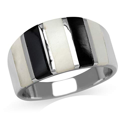 (Silvershake Mother Of Pearl & Created Black Onyx Inlay White Gold Plated 925 Sterling Silver Ring Size 7)