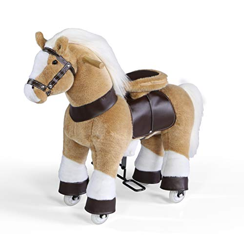 (FAO Schwarz 1005102 Ride-On Pony with Integrated Wheels and Front Wheel Drive, Soft Plush Fur and Mane, Built-in Saddle and Handlebars, Brown, Pack of 1)