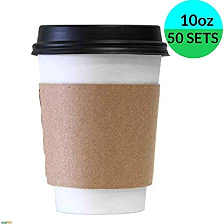300ml,50 500 Sets] 10oz Disposable Coffee Cups with Black