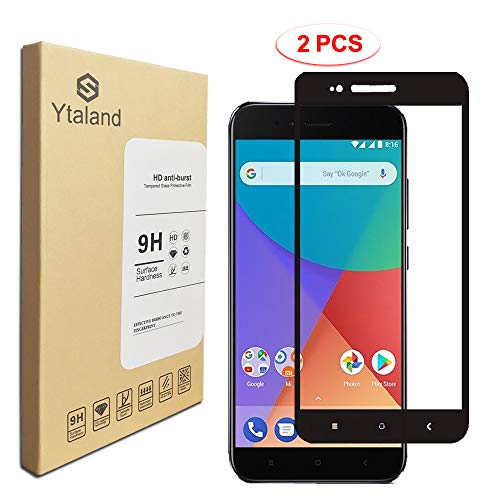 [2 Pack] Ytaland for Xiaomi Mi A1 Tempered Glass Screen Protector, Full Glue, Full Covered, Anti-Fingerprints, Bubble Free Screen Protector for Xiaomi Mi A1 Black Colour (A1 Colour)