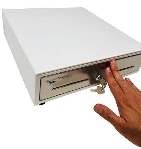 Manual Push Open Cash Drawer with Ringing Bell - 4 Bill Slots 5 Coin Trays 13