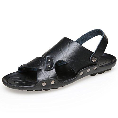 Xing Lin Sandalias De Hombre Los Hombres Zapatillas De Hombres Marea Antideslizante Sandalias De Playa 4728 Extra Grandes Zapatos Zapatos De Hombre Zapatillas De Verano Al Aire Libre, 46,553 Negro
