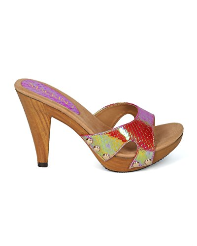 Sandalo Con Tacco Aperto In Pelle Di Serpente Color Alrisco Donna Open Toe - Hh06 By Mackinj Collection Red Mix Media
