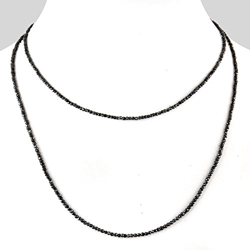 Barishh 65 Cts 3mm 36 inches Black diamond Beads Necklace with Silver Clasp by Barishh