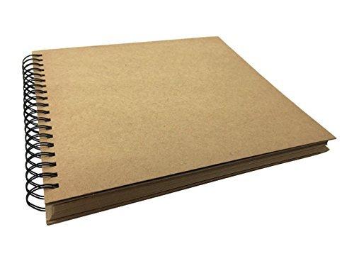 Kraft Cover Spiral Bound Scrapbook Photo Booth Album, Wedding Guest Book, Sketchbook, Journal (10.5 x 10.2 Inches)