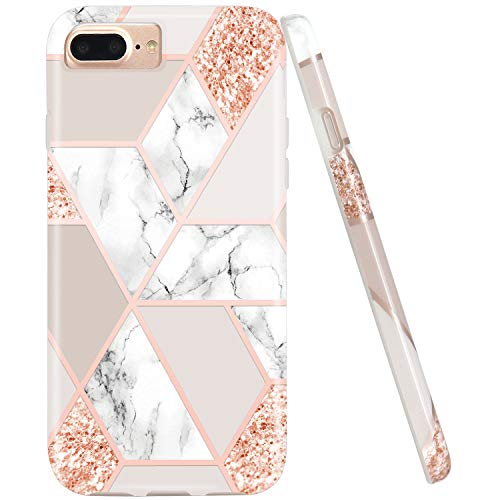 JIAXIUFEN Sparkle Glitter Shiny Rose Gold Metallic Marble Desgin Slim Shockproof Flexible Bumper TPU Soft Case Rubber Silicone Cover Phone Case Compatible with iPhone 7 Plus/8 Plus/6 Plus/6S -