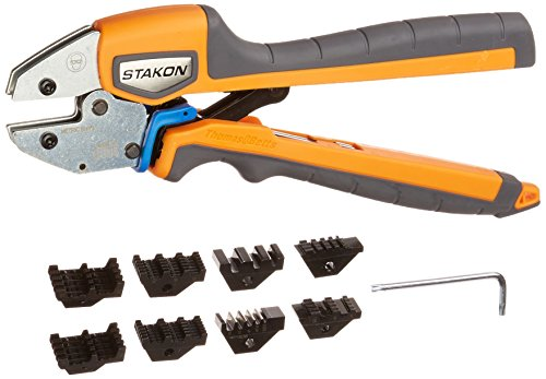 Thomas & Betts ERG4 Sta-Kon Ergonomic Crimp Tool for Installing Wire Ferrules, 26-1/0 AWG, Orange/Black Handle