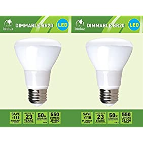 2 Pack Bioluz LED Br20 LED Bulb 7w (50w Equivalent) 2700K Bright Warm White 550 Lumen Smooth Dimmable Lamp - Indoor / Outdoor UL Listed (Pack of 2)