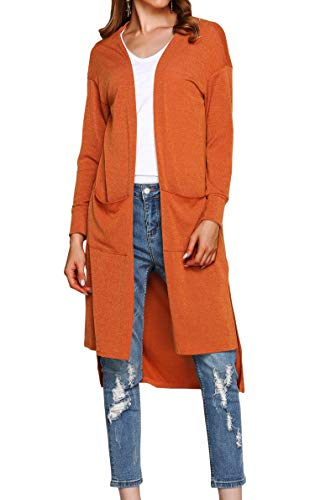 Hibluco Women's Casual Open Front Knit Long Cardigan Sweaters Pockets (Large, Orange)