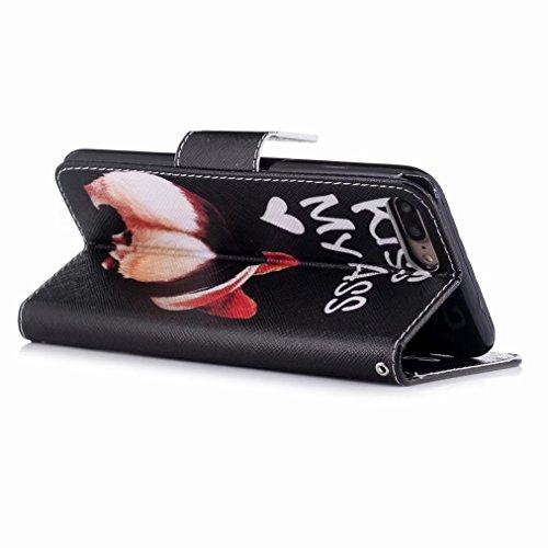 Yiizy handyhülle Apple IPhone 7 Plus hülle, Hunde Ass Tasche Leder Schutzhülle PU Ledertasche Bumper Schutz Flip Cover Case Magnet Beutel Klappe Silikon Gummi huelle Schale Stehen Kartenhalter Stil