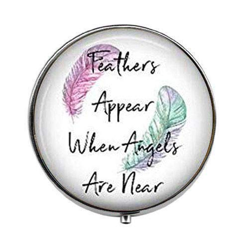 Feathers Appear When Angels are Near - Inspirational Art Photo Pill Box - Charm Pill Box - Glass Candy Box
