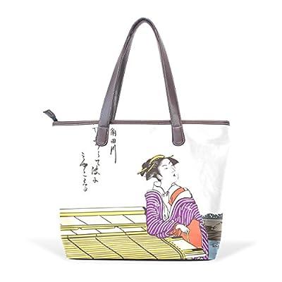 0e6a2fd142 outlet Ukiyoe Ukiyo-E Print Japanese Art Women s Fashion Large Shoulder Bag  Handbag Tote Purse